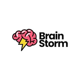 Brain storm idée intelligente pense créative logo vector icon illustration