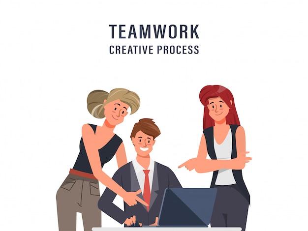 Brainstorming, travail d'équipe, personnage de bureau, réunion de séminaire de collègue d'animation. intérieur de bureau espace de co-working.