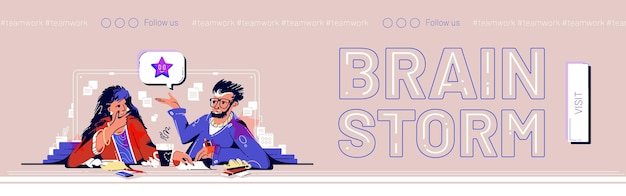 Brainstorming web banner les gens d'affaires pensent idée