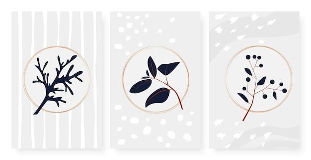 Branche abstraite avec des baies de feuilles en cercle des formes géométriques de lignes ensemble de points de brosse