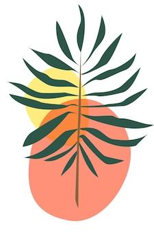 Branche abstraite avec des feuilles coupées branche vecteur stock abstrait illustration affiche