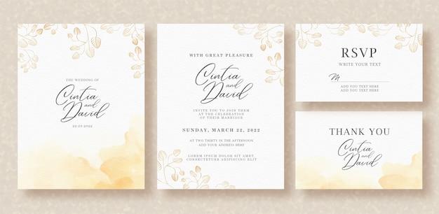 Branche aquarelle sur modèle d'invitation de mariage