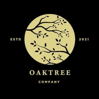 Branche d'arbre logo design branche d'arbre et illustration vectorielle de lune