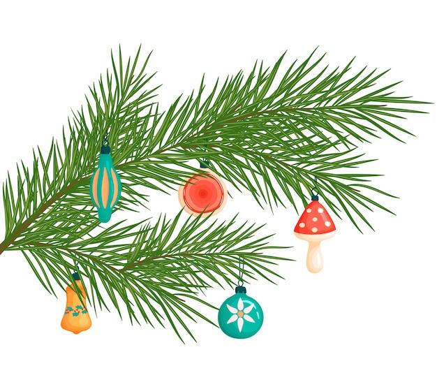 Branche d'arbre de noël avec des jouets. illustration de noël. décorations de noël en style cartoon.