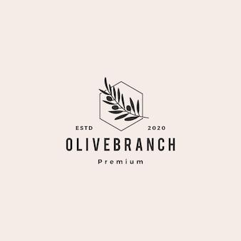 Branche d'arbre d'olive logo hipster vintage rétro