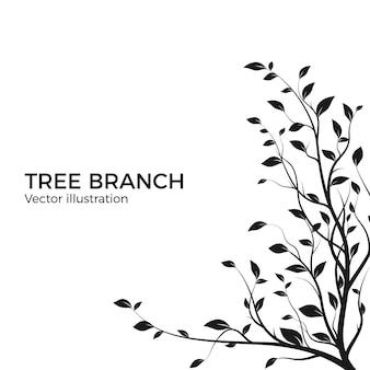 Branche d'arbre silhouette avec beaucoup de feuilles. silhouette de brousse isolée sur fond blanc. élément de design de décoration. illustration vectorielle