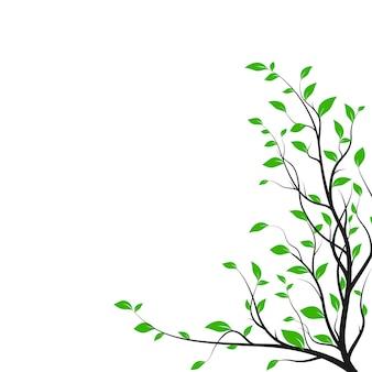 Branche d'arbre silhouette avec beaucoup de feuilles vertes. silhouette de brousse isolée sur fond blanc. élément de design de décoration. illustration vectorielle