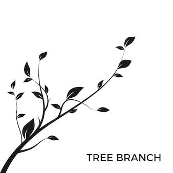 Branche d'arbre silhouette. silhouette de bush isolée sur fond blanc avec beaucoup de feuilles. élément de design de décoration. illustration vectorielle