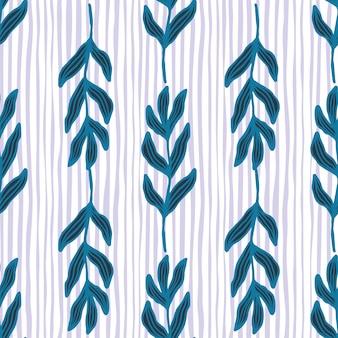 Branche de bluek contour créatif avec motif sans couture de feuilles sur fond de rayures. toile de fond de feuillage vintage. papier peint nature moderne. pour la conception de tissus, l'impression textile, l'emballage, la couverture