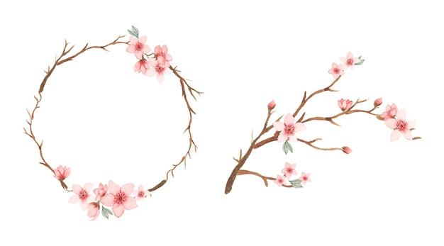 Branche et cadre floral aquarelle