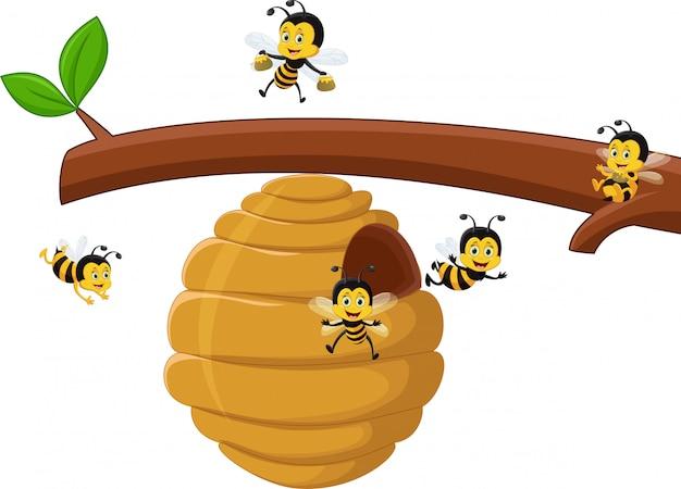 Branche de dessin animé d'un arbre avec une ruche et une abeille