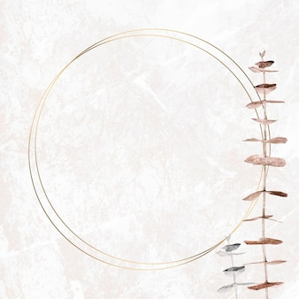 Branche d'eucalyptus argent et or avec modèle de cadre rond