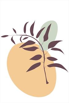Branche de feuilles et de fleurs abstraites avec des feuilles coupées branche illustration abstraite de vecteur stock