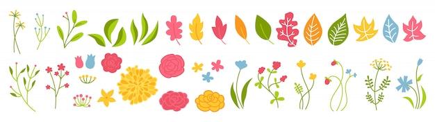 Branche et fleur rose botanique vert ensemble. résumé des différents éléments de beau design floral. collection éco de dessin animé floral plat coloré. belle feuille de verts isolés. illustration