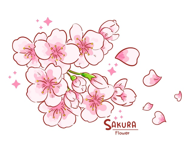 Branche de fleurs de sakura illustration de dessin animé dessiné à la main