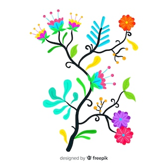 Branche floral coloré artistique design plat décoratif