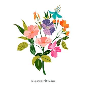 Branche floral coloré dessiné à la main