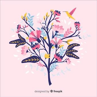Branche florale colorée au design plat