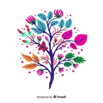 Branche florale design plat élégant