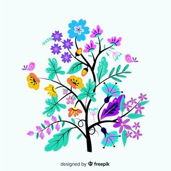 Branche florale design plat
