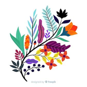 Branche florale plate colorée avec de jolies fleurs