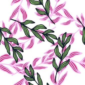 Branche de forêt de contour avec motif sans couture de feuilles. toile de fond de feuillage abstrait. fond d'écran nature. pour la conception de tissus, l'impression textile, l'emballage, la couverture. illustration vectorielle.