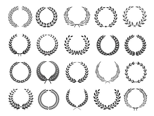 Branche grecque. couronne de récompense de victoire de cercle avec des feuilles elleents pour les étiquettes d'emblèmes