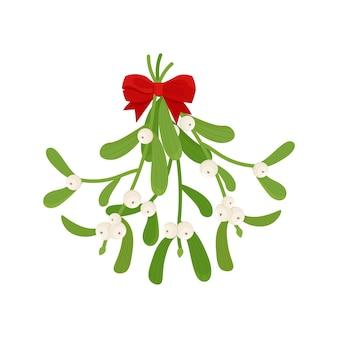 Branche de gui, isolée sur une illustration de fond blanc dans un style plat