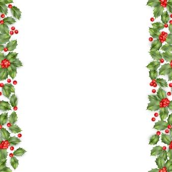 Branche de houx de noël avec bordure transparente de baies. objet de carte de bonne année.