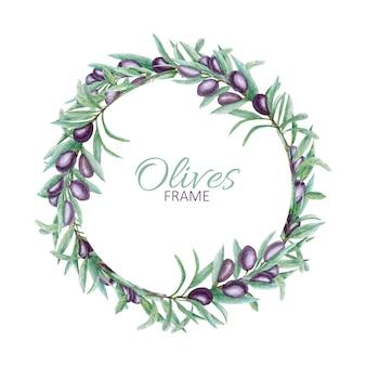 Branche d'olivier noir réaliste laisse une couronne, cadre d'olives aquarelle peint à la main.