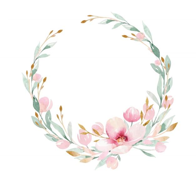 Branche de printemps avec des feuilles vertes et une couronne de fleurs. aquarelle