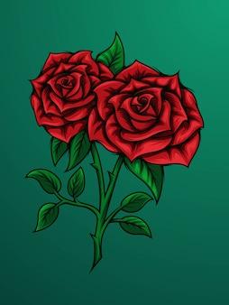 Une branche de rose rouge