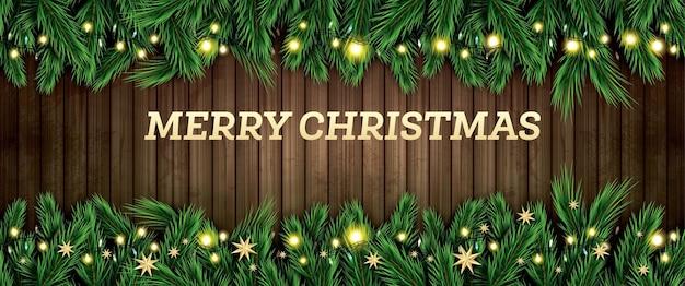 Branche de sapin avec néons et étoiles dorées sur fond de bois. joyeux noel et bonne année. illustration vectorielle.