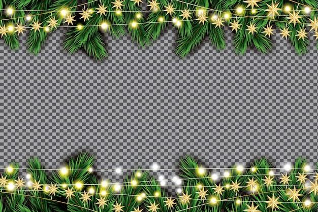 Branche de sapin avec néons et étoiles dorées sur fond transparent.