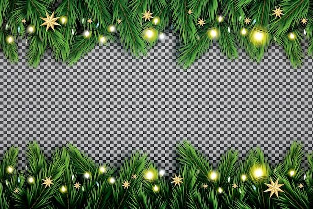Branche de sapin avec néons et étoiles sur fond transparent.