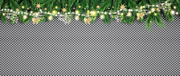 Branche de sapin avec néons et guirlande dorée avec hélicoptères sur fond transparent. joyeux noel et bonne année. illustration vectorielle.
