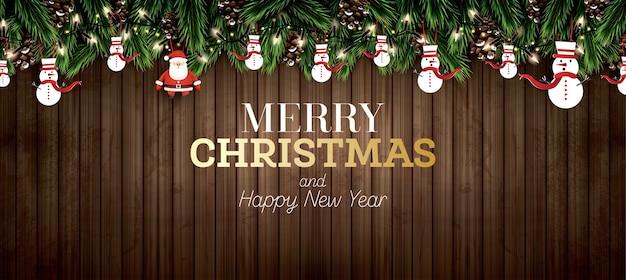 Branche de sapin avec néons, pomme de pin, père noël et bonhomme de neige sur fond de bois. joyeux noël. bonne année. illustration vectorielle.