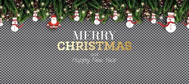 Branche de sapin avec néons, pomme de pin, père noël et bonhomme de neige sur fond transparent. joyeux noël. bonne année. illustration vectorielle.