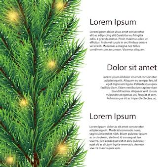 Branche de sapin réaliste de vecteur avec illustration de lumières