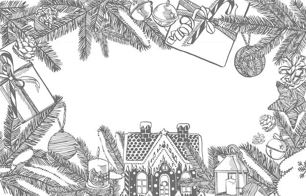 Branches d'arbres de noël et jouets d'arbre de noël. éléments de conception de nouvel an et de noël. . illustration vintage.