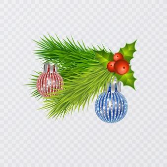 Branches d'arbres de noël réalistes de saison décorées avec des baies et des jouets d'arbres de noël