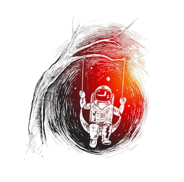 Branches d'arbres suspendus swing astronaute profiter de la vie