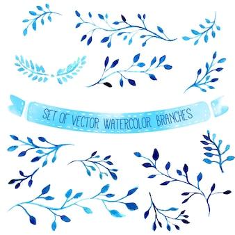 Branches bleues aquarelles vectorielles dessinées à la main avec des feuilles ensemble d'éléments de conception artistique