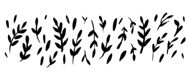 Branches de buisson d'encre noire dessinées à la main avec jeu de feuilles