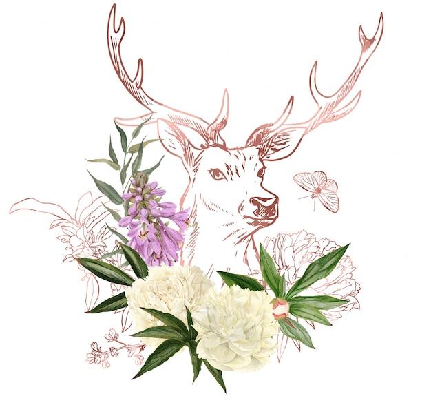 Branches, éléments floraux en or rose et tête de cerf