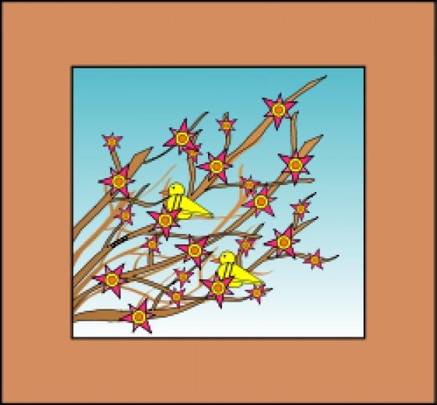 Branches, fleurs, oiseaux