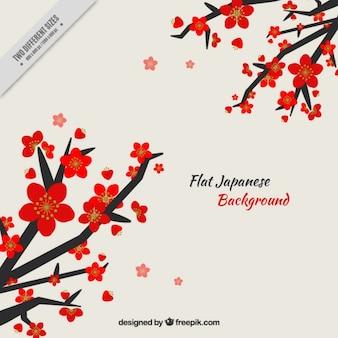 Branches avec des fleurs rouges de fond japonais