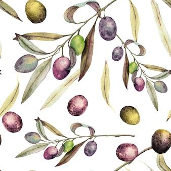 Branches d'olive peintes à l'aquarelle et feuilles modèle sans couture