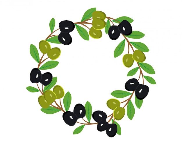 Branches d'olives vertes et noires recueillies dans une couronne