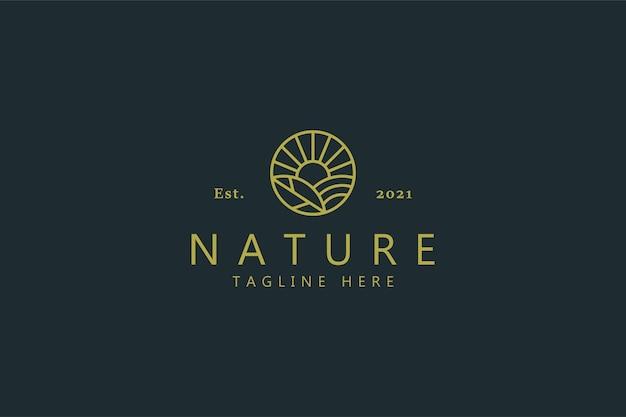Branding de logo simple de champ de ferme de nature.